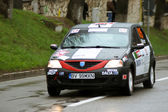 Close up scene with Dacia Logan at Brasov rally — Stock Photo