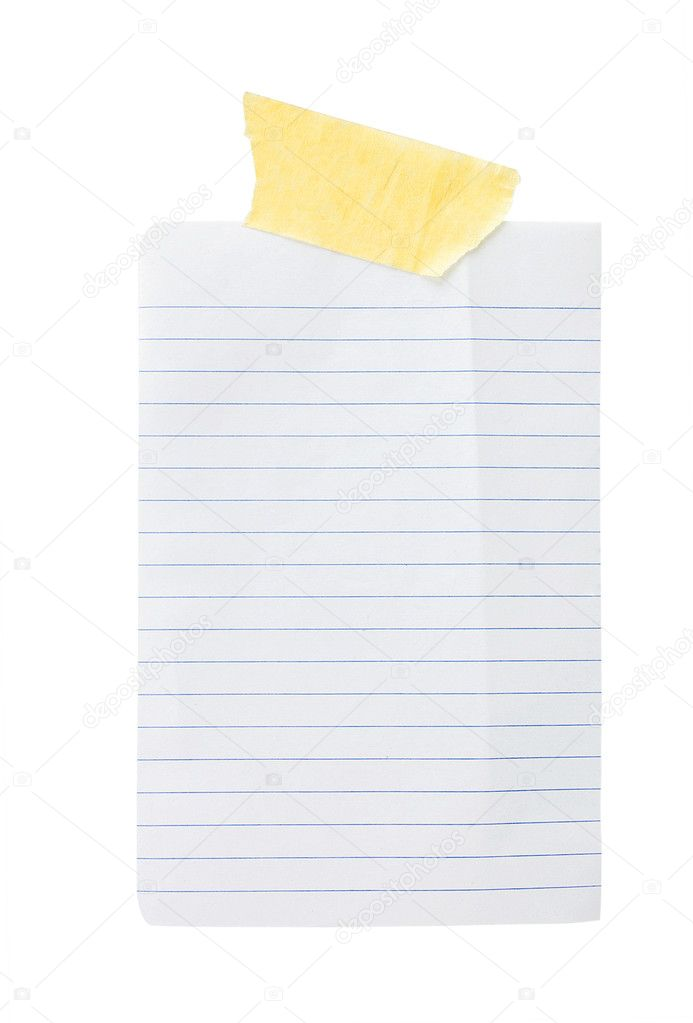Isolated paper in the line with sticky tape on a white background — Stock Photo #8495110