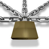 Chain closed with a lock — Stock Photo