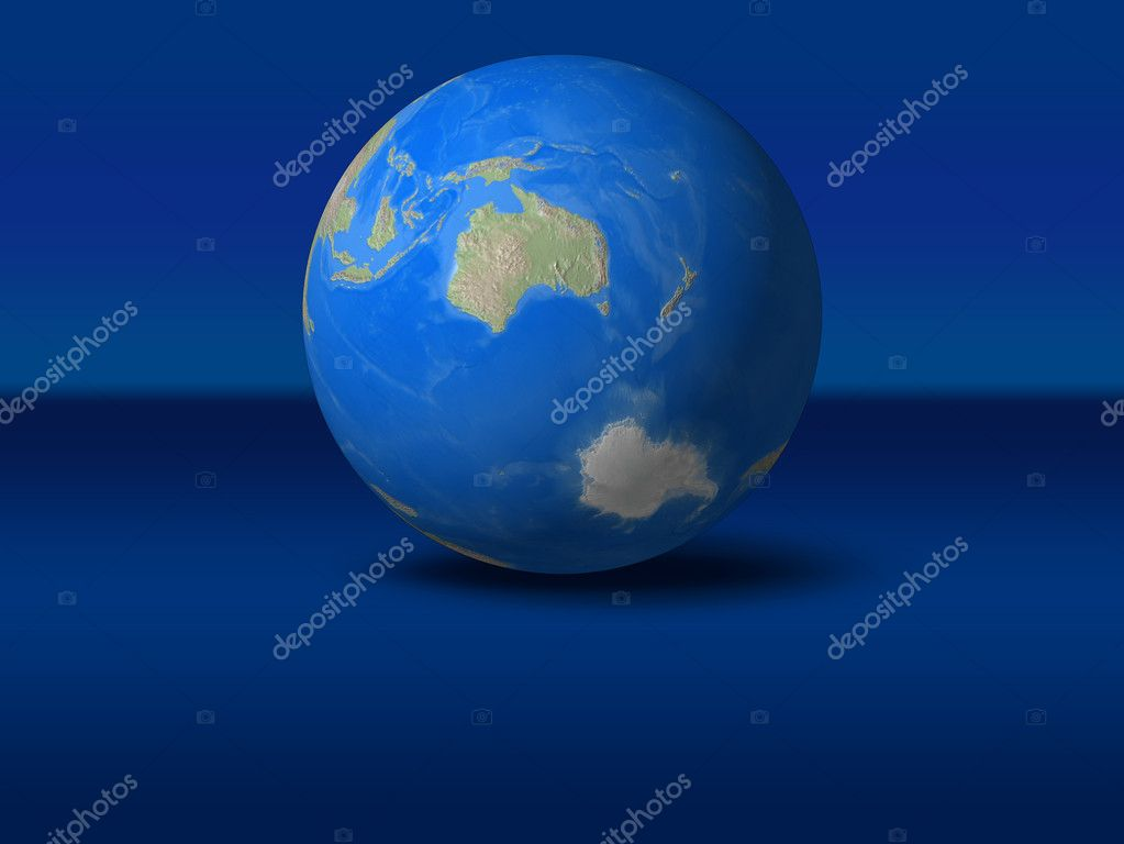 World Globe on blue graphic backgroundAustralia view — Stock Photo #10253451