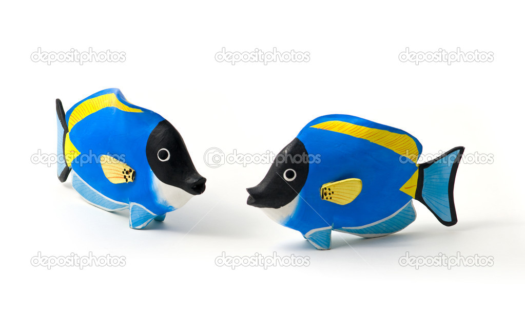 Surgeon fish stained wood - toy - souvenirs of tropical seas. Family love Concept. — Stock Photo #10258174
