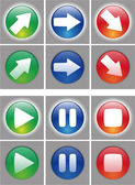 Arrows and player button Icon set. — Stock Vector