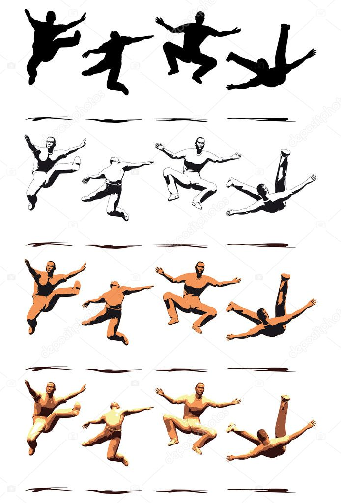 Dancer Jump silhouette various poses - VECTOR  Stock Vector #10270143
