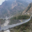 Suspension foot bridge over valley in mountains, Himalaya - Stock Photo