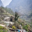 View of local house in Himalayan mountains - Foto Stock