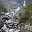 Waterfall on the way to Annapurna in Nepal, Himalayas -  