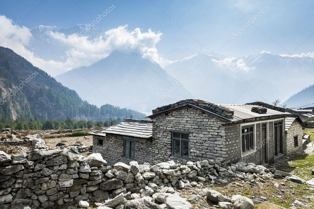 Vista Da Casa Local Nas Montanhas Do Himalaia Nepal