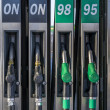 Foto Stock: Europestyle gasoline pumps