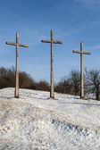 üç hill kış manzara kazimierz dolny yılında haçlar — Stok fotoğraf