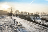 Sundown over walway in winter time — Stock Photo