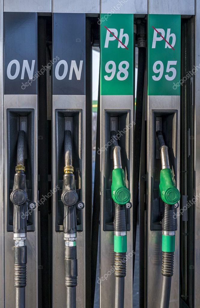 European style gasoline pumps at petrol station — Stock Photo #9078631