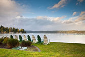 Chairs and Hood Canal — Stock Photo