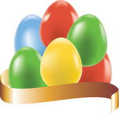 Colored eggs with gold ribbon, easter background — Stockvektor