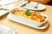 Baked Spaghetti Cheesy Shrimp — Stock Photo