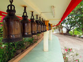 A row of bells in Buddhist's temple — 图库照片