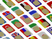 3D SIM cards represented as flags of different countries — Stock Photo