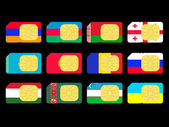 SIM cards represented as flags of countries from CIS — Stock Photo
