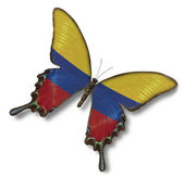 Colombia flag on butterfly — Stock Photo