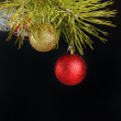 Coniferous branch decorated with New Year balls — Stock Photo #8160928