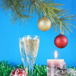 New Year still life against the blue background — Stock Photo