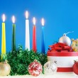 Christmas still life against the blue background — Stock Photo