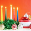 Christmas still life against the red background — Stock Photo