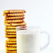 A glass of milk and cookies — Stock Photo
