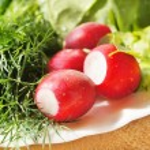 A fresh garden radish and greenery lie on a dish — Stock Photo