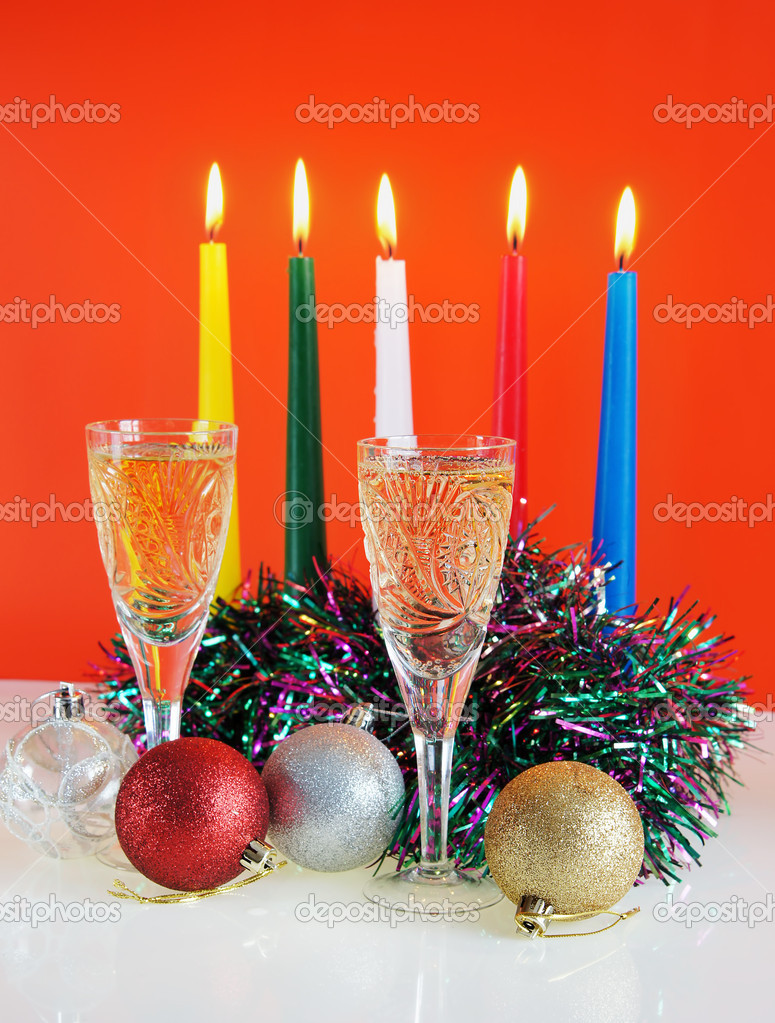 Christmas still life against the red background — Stock Photo #8160746