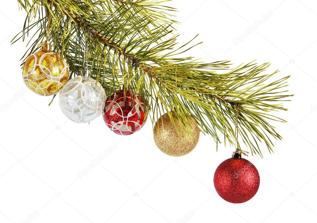 Coniferous branch decorated with New Year balls — Stock Photo #8160953