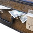 Old suitcase full of money — Stock Photo