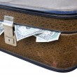 Stock Photo: Old suitcase full of money