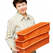The young woman with boxes for sprouts — Stock Photo