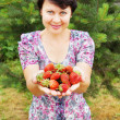 Woman-gardener holds in palms large and ripe berries of garden wild strawbe — Stock Photo