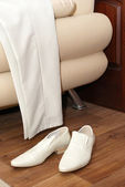 White male trousers and shoes — Stock Photo