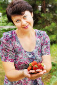 Woman-gardener holds large and ripe berries of garden wild strawberry in pa — Stock Photo