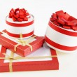 Gift boxes on white background — Stock Photo