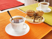 Morning tea for two persons — Stock Photo