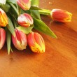 Bouquet of tulips on table — Stock Photo #9362925