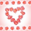 Bright background with heart made of roses — Stock Photo