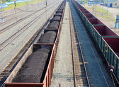 Wagons with coal at railway station — Stock Photo