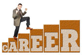 Man climbs up on a career ladder — Stock Photo