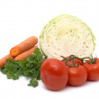 Stock Photo: Fresh vegetables on white background