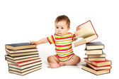The child and a pile of books — Stock Photo