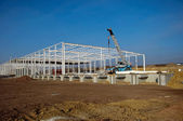 Construction site of modern warehouse — Stock Photo