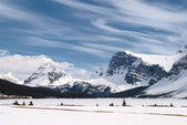 Winter landscape with Canadian Rockies and Bow Lake — Stock Photo