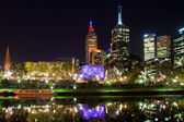 Melbourne at night with reflection in Yarra river, Australia — Stock Photo