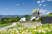Visa på fairmont le chateau frontenac hotel i quebec, kanada — Stockfoto