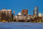 Calgary Downtown at sunrise, Alberta, Canada — Stock Photo