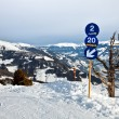 Stock Photo: Blue skiing route